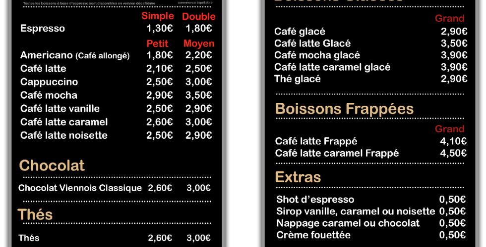 Carte Seattle's Best Coffee Blagnac